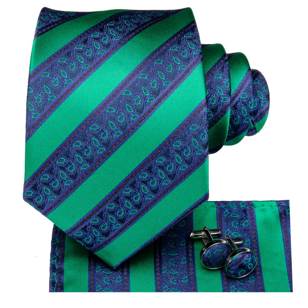 Green Avalanche Tie, Pocket Square and Cufflinks - SOPHGENT