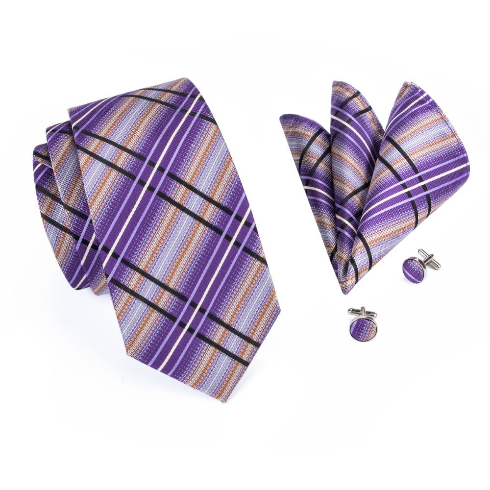 Purple Planet Tie, Pocket Square and Cufflinks - SOPHGENT