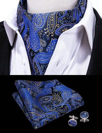 The Deep Sea Ascot, Pocket Square and Cufflinks - SOPHGENT