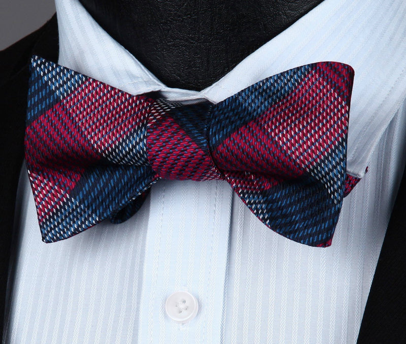 6d1684abce03 Red and Blue Plaid Bow Tie and Pocket Square | Beautiful ties at  unbelievable prices.
