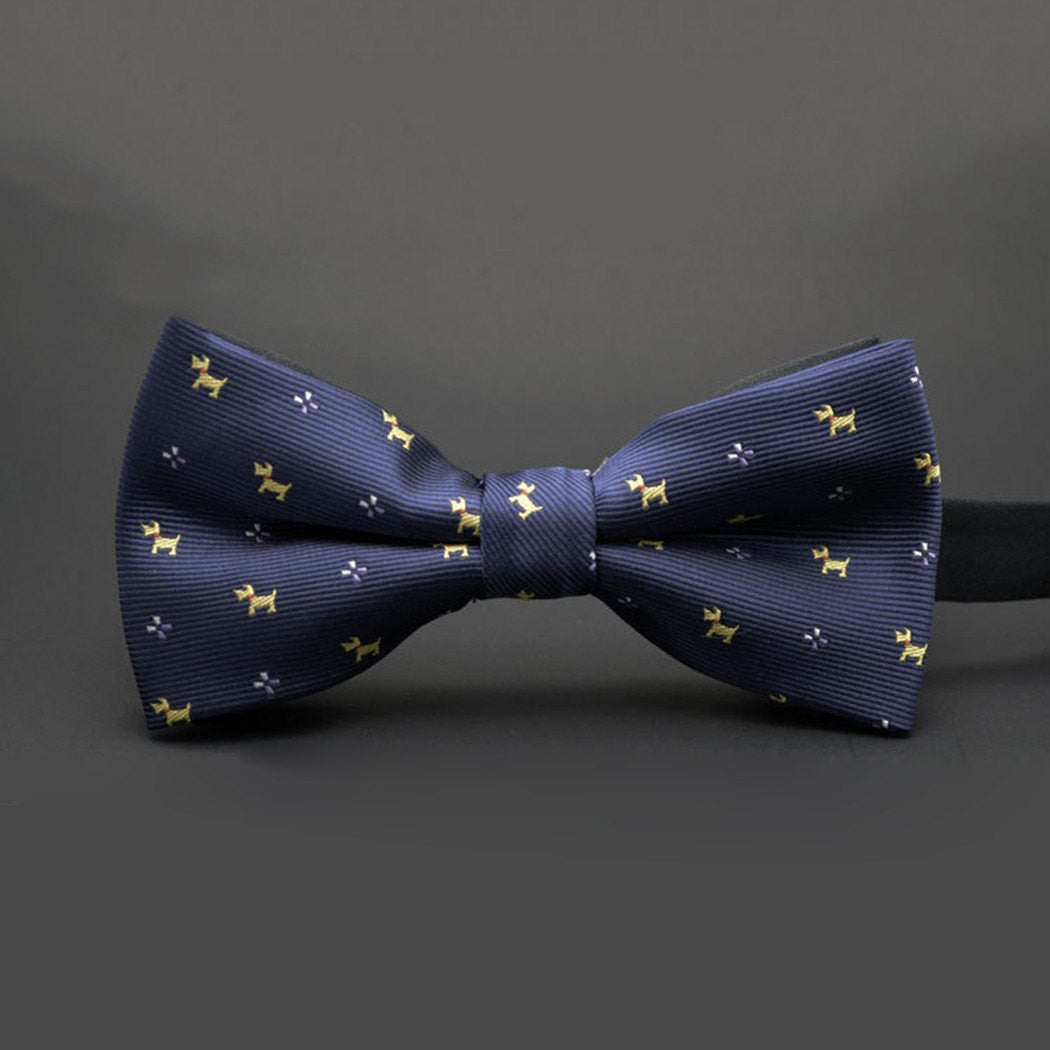 Bow Tie - SALE / Dog Pattern Bow Tie Navy & Yellow