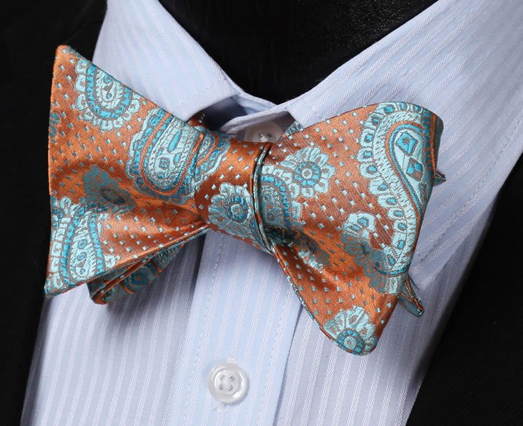 Aqua and Orange Paisley Bow Tie and Pocket Square - SOPHGENT