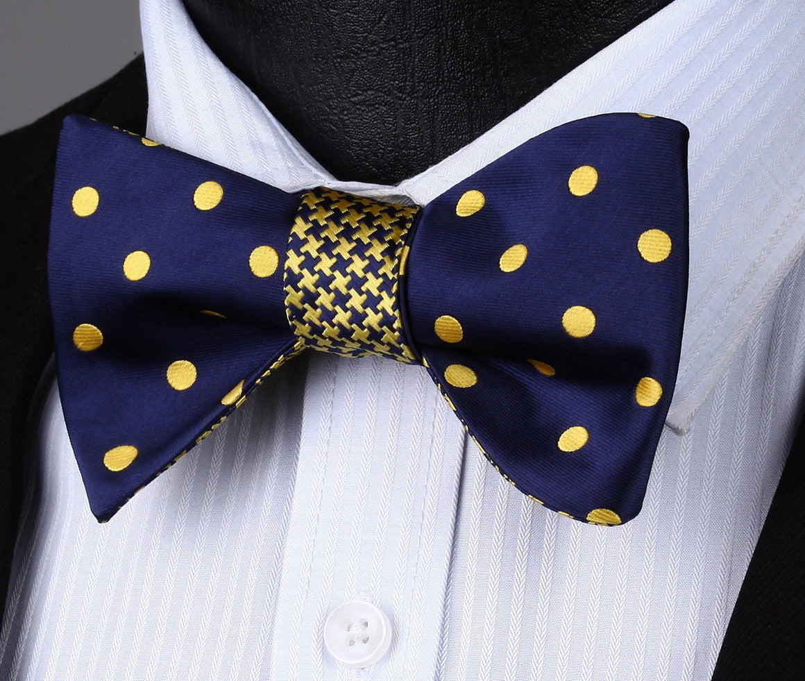 Bow Tie Sets - Dots In Gold Bow Tie And Handkerchief (Double Sided)