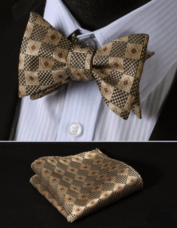 Gold Diamonds In Square Bow Tie with Pocket Square - SOPHGENT