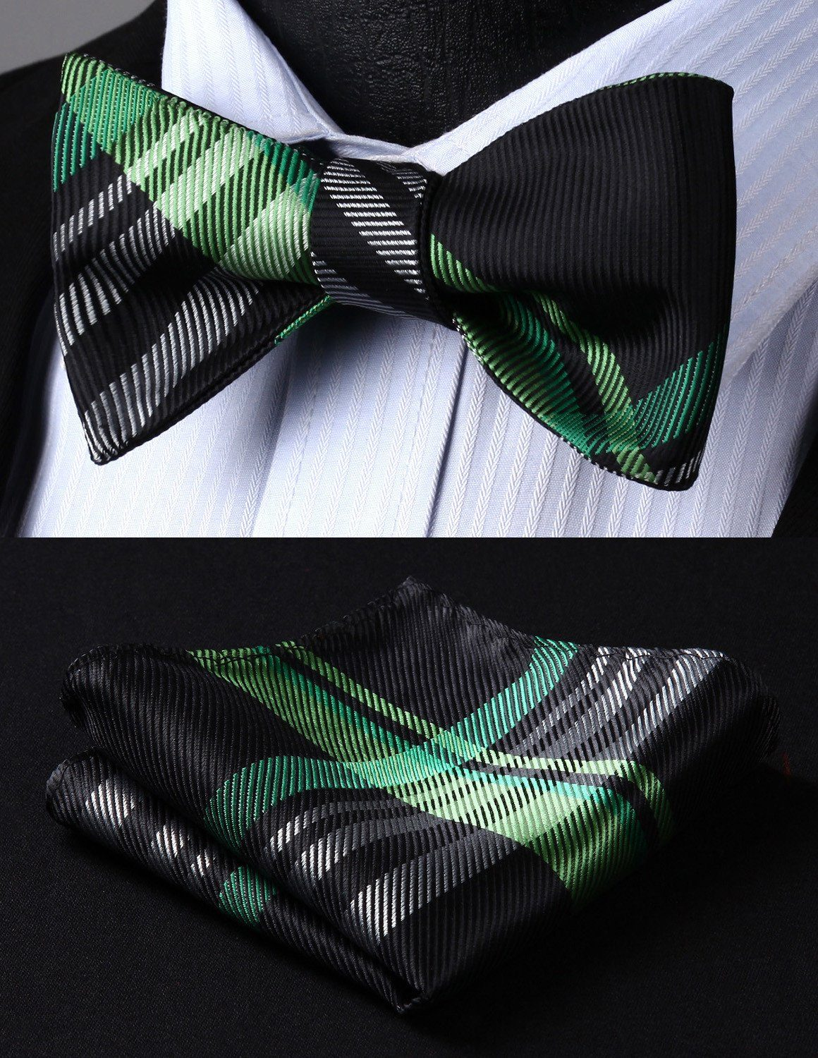 Bow Tie Sets - Green And Black Striped Bow Tie And Handkerchief