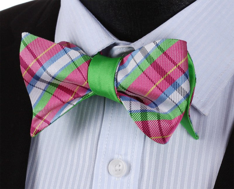 "Bow Tie Sets - ""Green Valley"" Bow Tie And Handkerchief (Double Sided)"