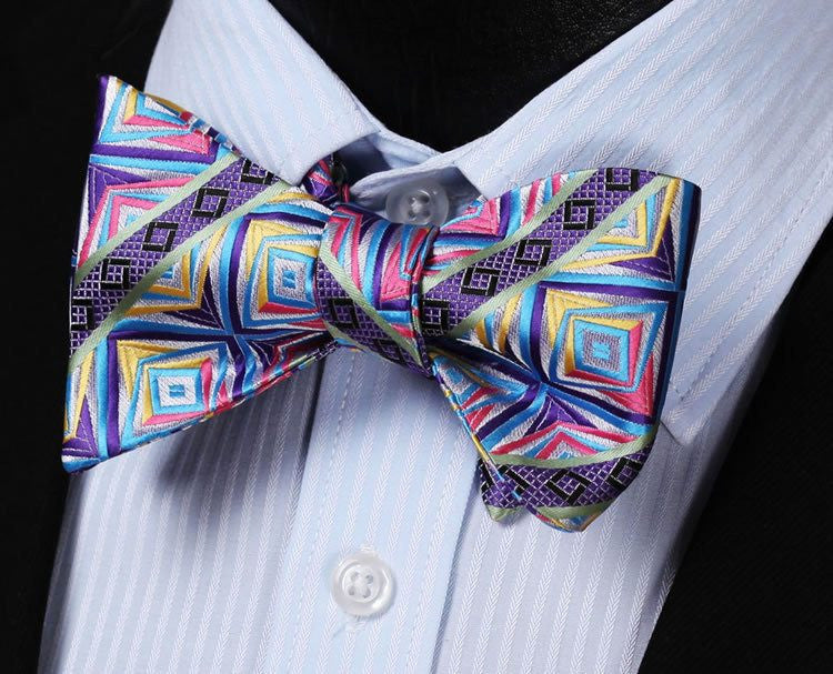Bow Tie Sets - Lilac Vibrant Bow Tie With Pocket Square