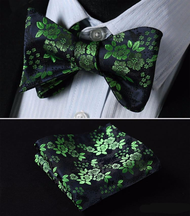 Optimistic Green Floral Bow Tie and Pocket Square - www.sophgent.com