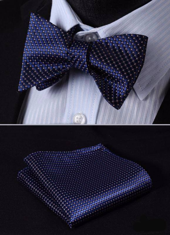 Poised Blue Bow Tie and Pocket Square - SOPHGENT