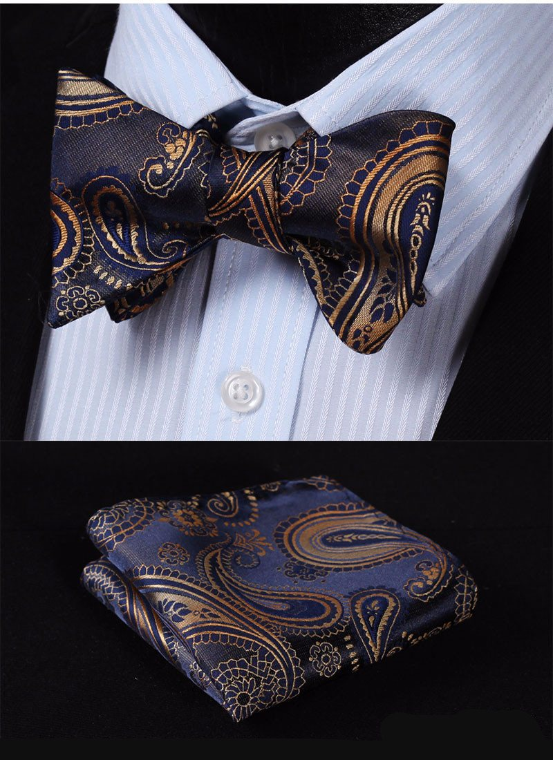 Quiet Storm Paisley Bow Tie and Pocket Square - SOPHGENT