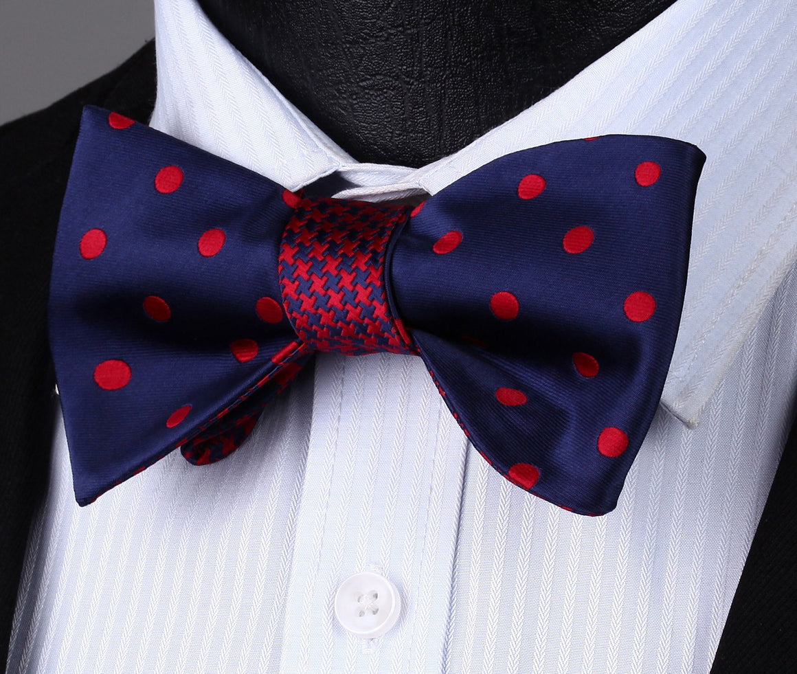 Bow Tie Sets - Red Dots Bow Tie And Handkerchief (Double Sided)