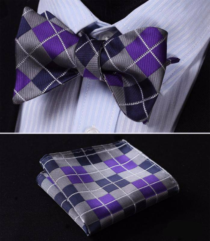 Silver and Purple Bow Tie with Pocket Square - SOPHGENT