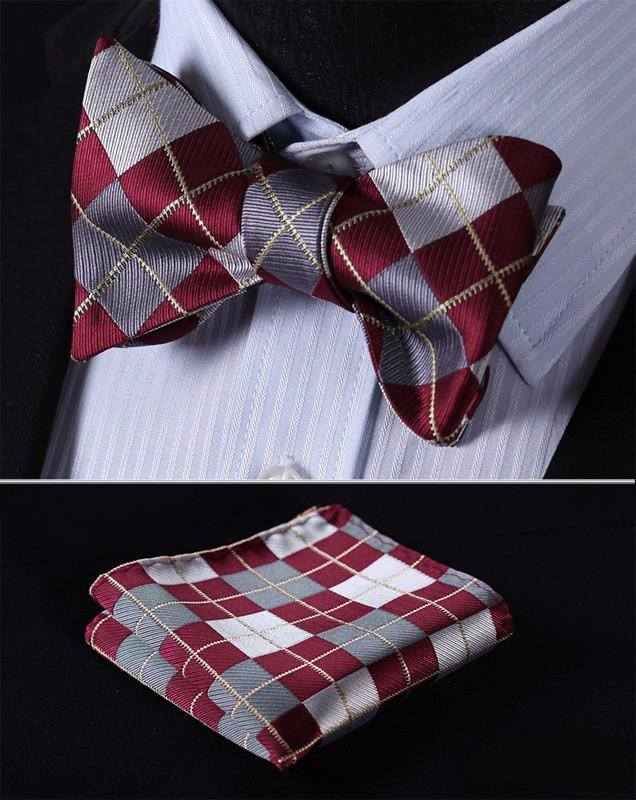 Silver and Red Bow Tie with Pocket Square - SOPHGENT