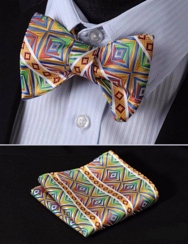 Yellow Vibrant Bow Tie with Pocket Square - www.sophgent.com