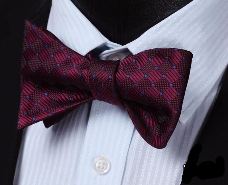 Bow Tie - Wine With Blue Dots Bow Tie