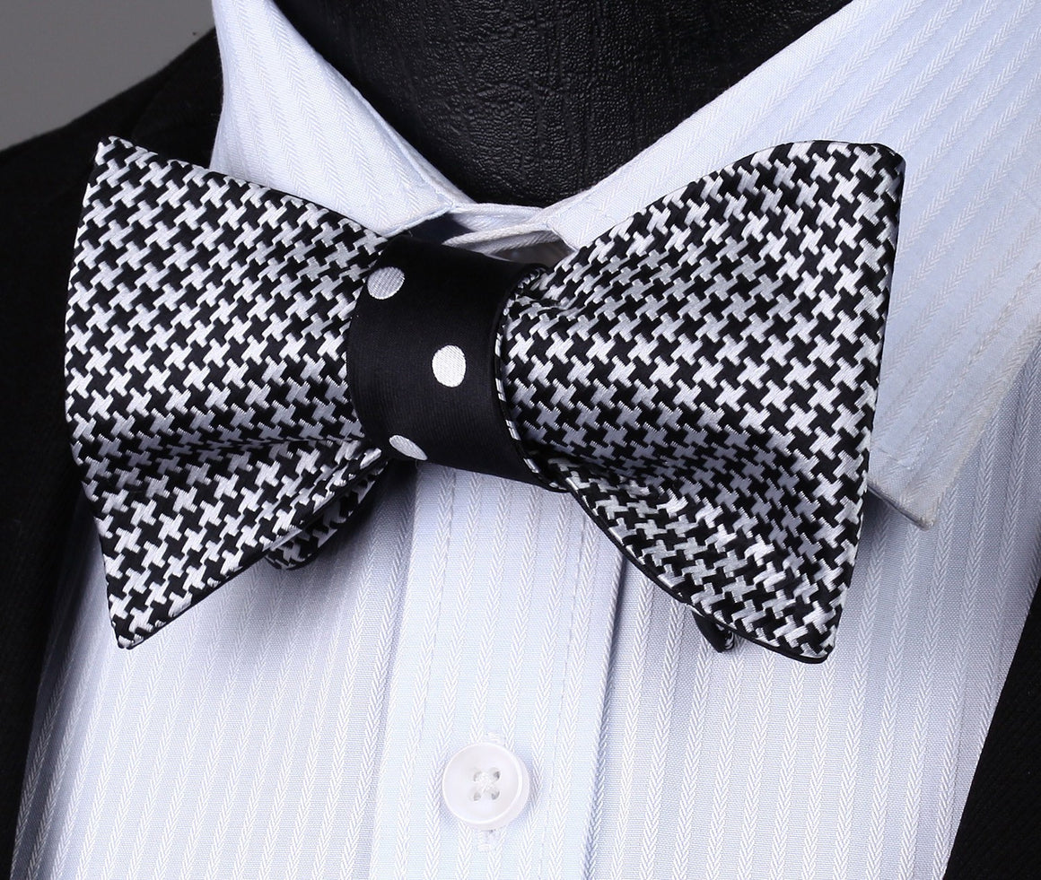 """YIN YANG"" Bow Tie and Pocket Square (DOUBLE SIDED) - SOPHGENT"