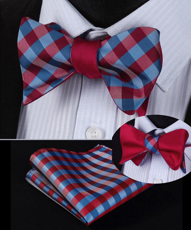 Red And Blue Plaid Bow Tie And Pocket Square Double Sided