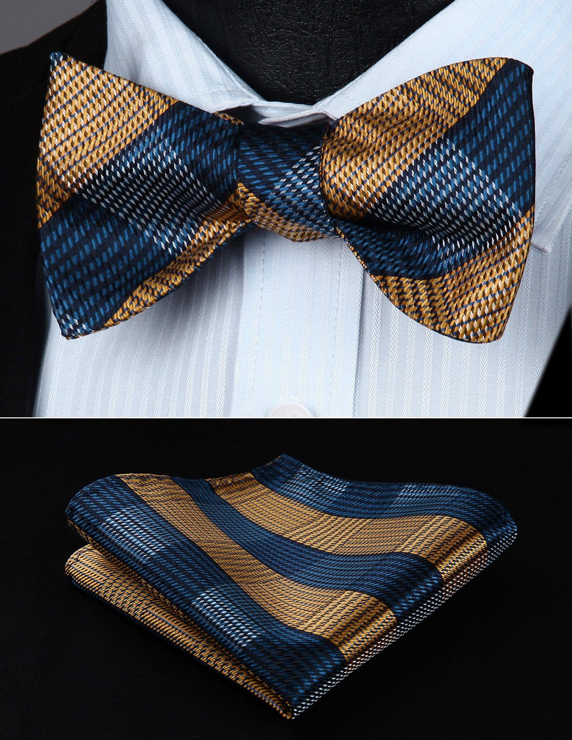 Yellow and Blue Plaid Bow Tie and Pocket Square - SOPHGENT