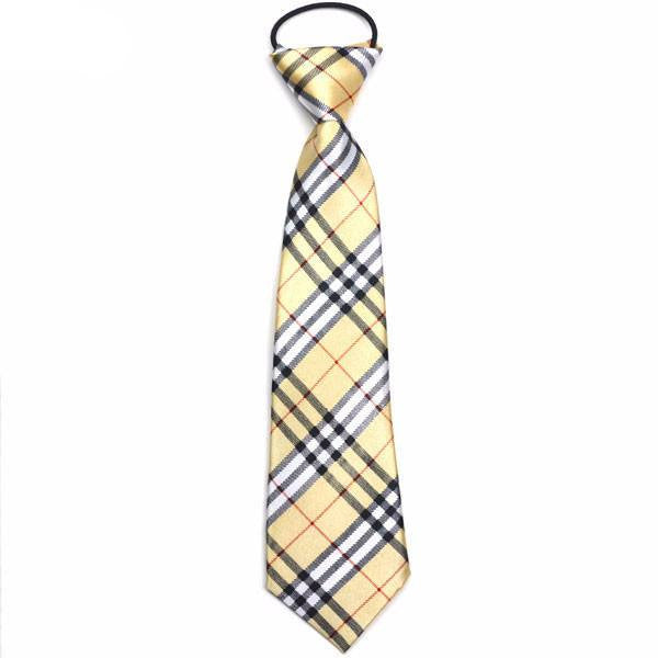 Beige and Black Plaid Boys Tie - SOPHGENT
