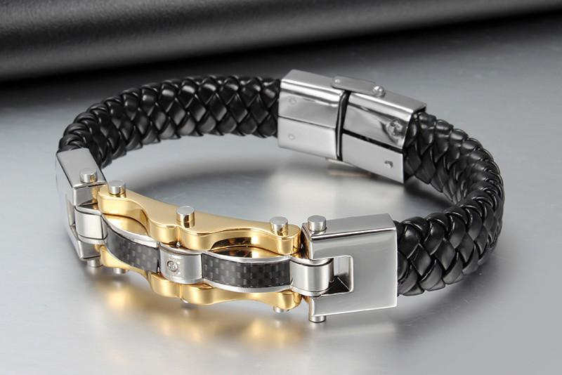 Crucible Men's Braided Leather and Stainless Steel Bracelet - SOPHGENT