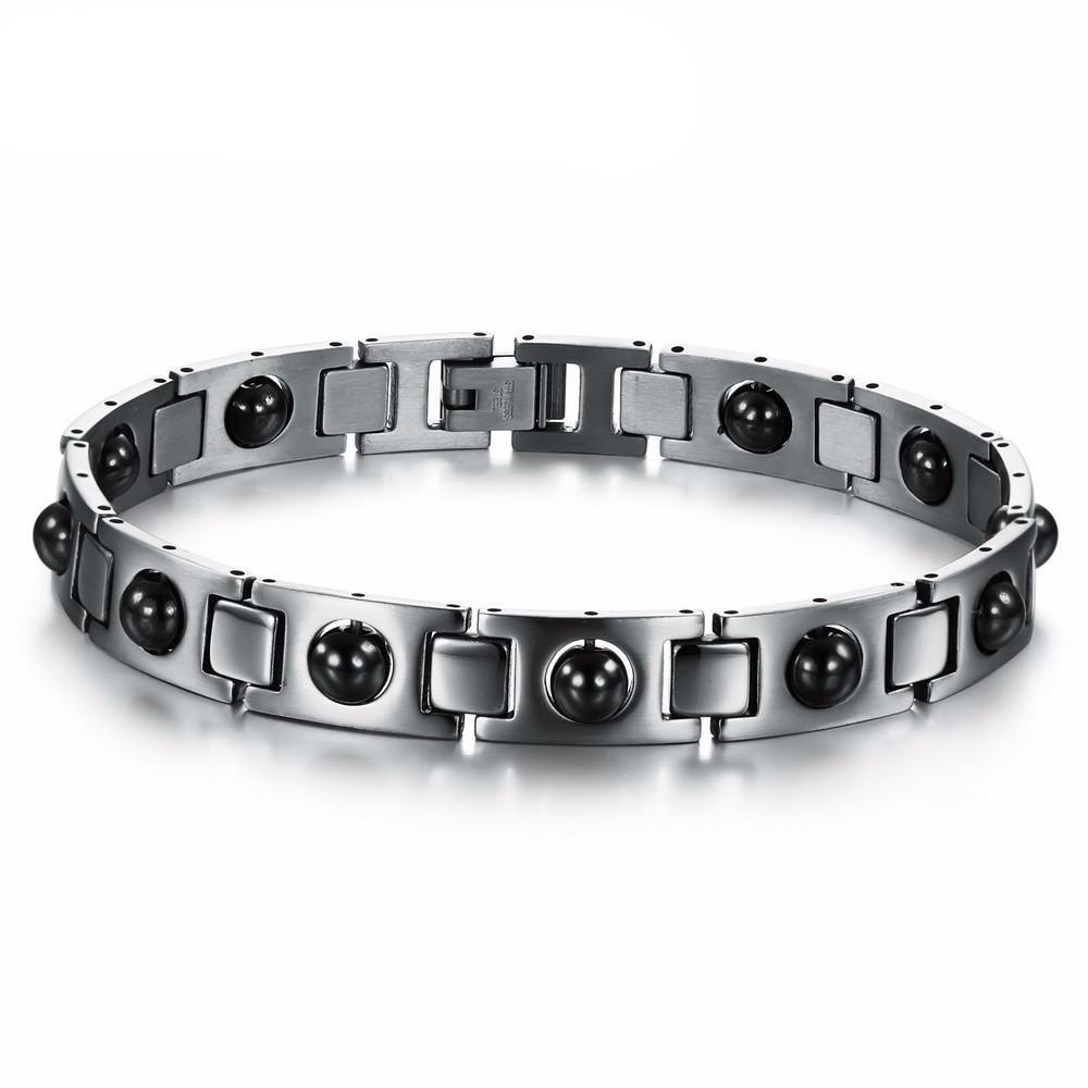 Bracelet - Men's Magnetic Brushed Stainless Steel Bracelet