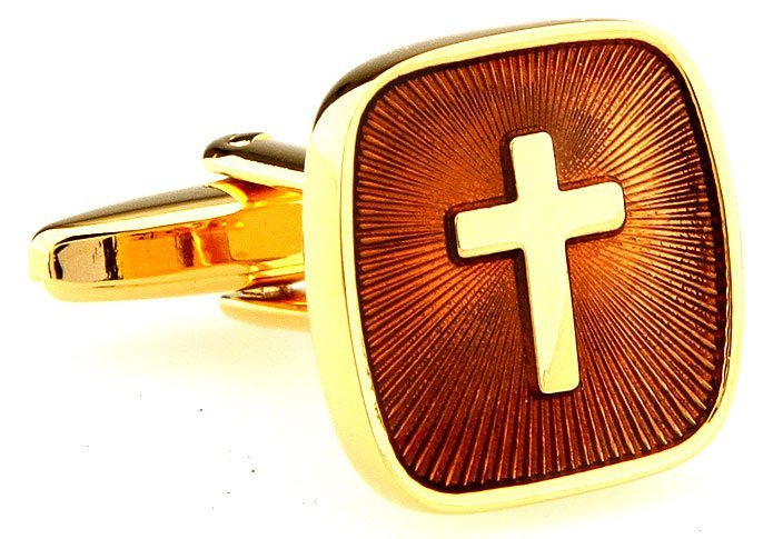 Cross in Gold Cufflinks - www.sophgent.com - 1