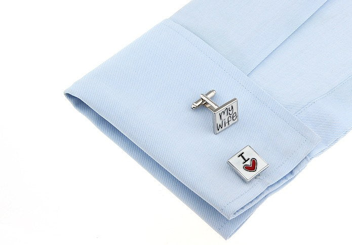 Wedding Series I Love My Wife Cufflinks - www.sophgent.com - 1