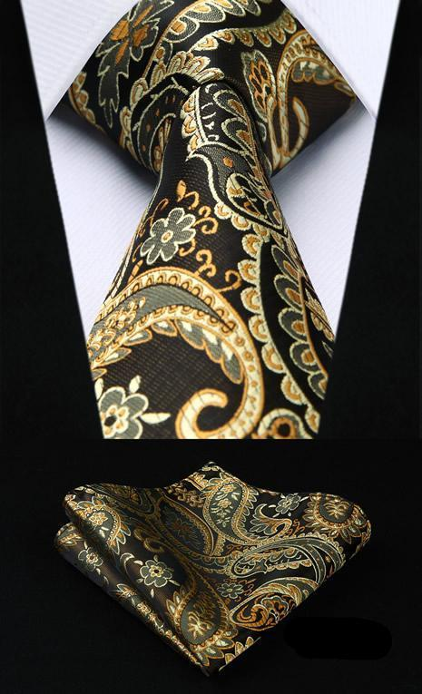 Paisley Tie and Pocket Square in Gold - SOPHGENT