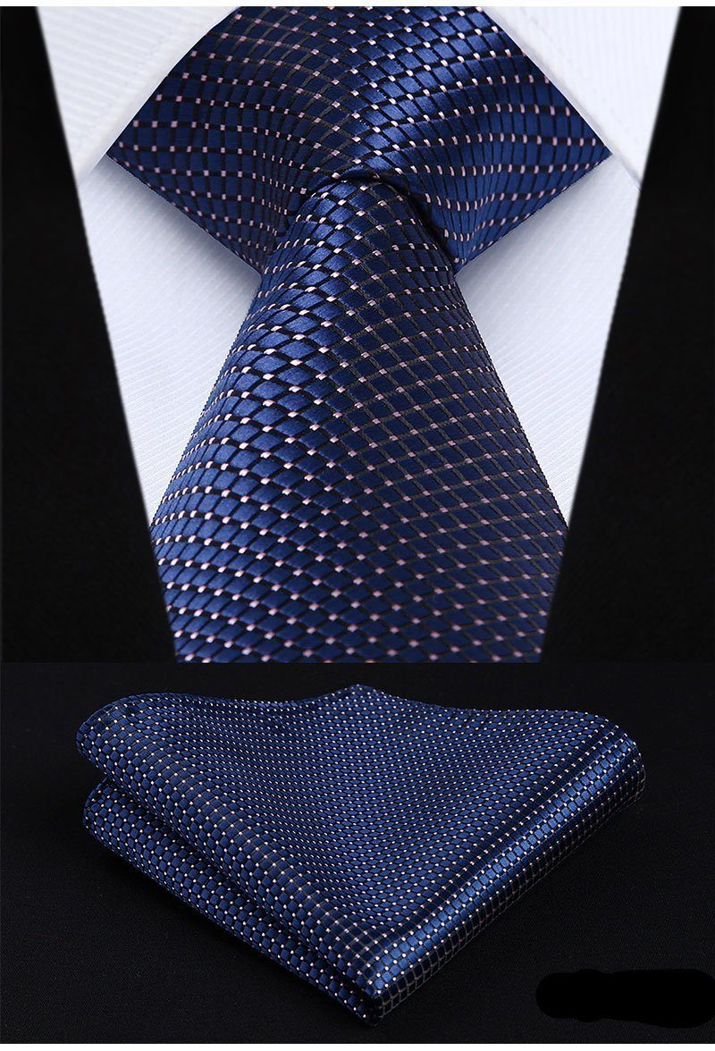 Extra Long - Poised Blue XL Tie And Handkerchief