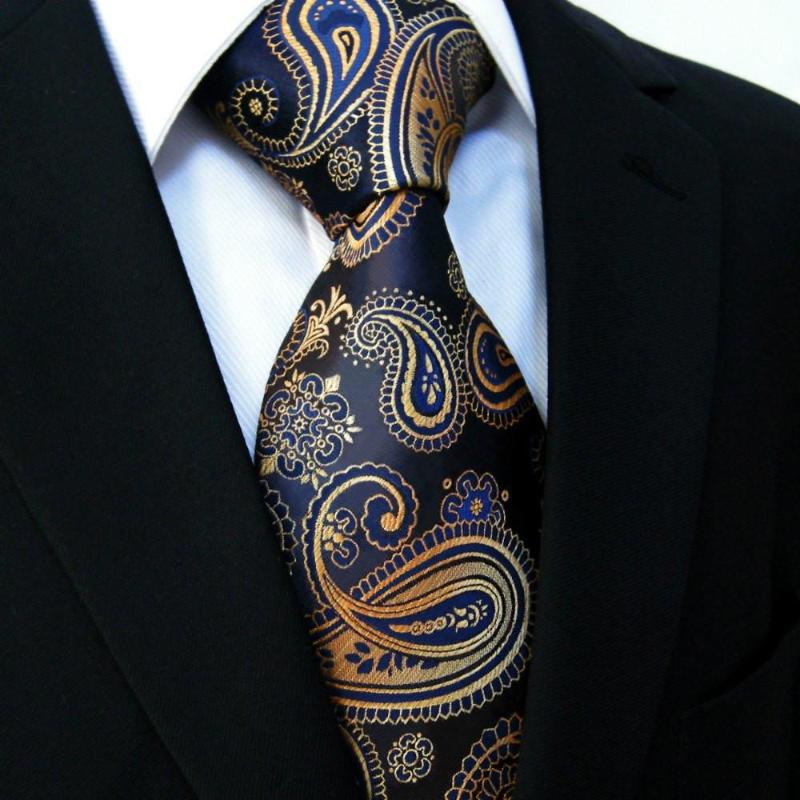 Quiet Storm Paisley Long Tie and Pocket Square - SOPHGENT