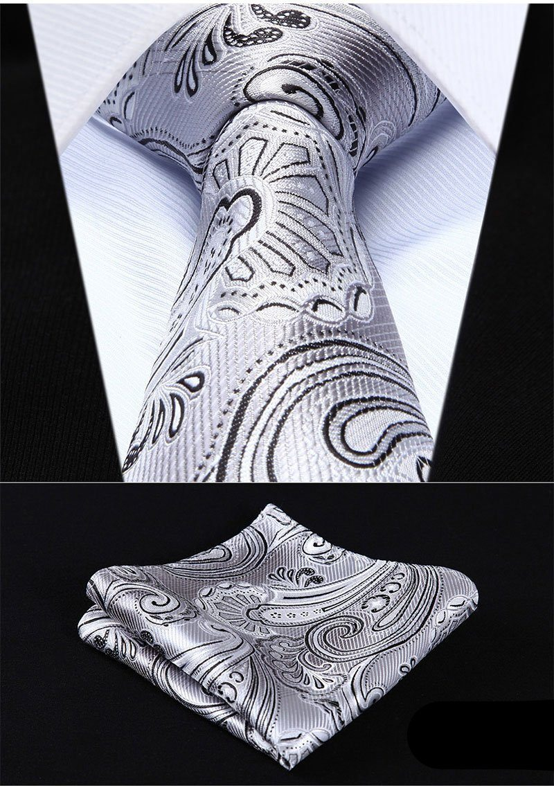 Silver Paisley XL Tie and Pocket Square - SOPHGENT