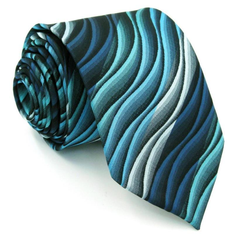 Turquoise Waves Silk Tie - SOPHGENT