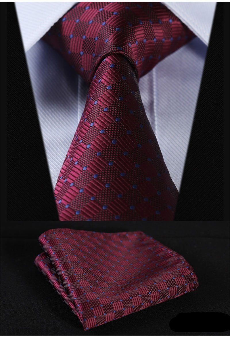 Wine With Blue Dots Tie and Pocket Square - SOPHGENT
