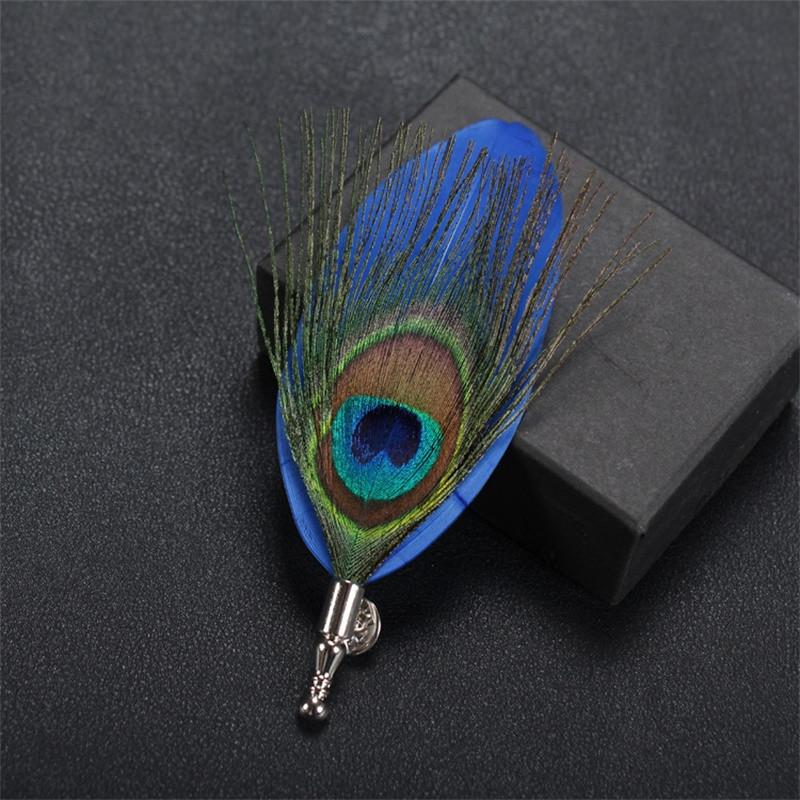 Feather Lapel Pin in Blue - SOPHGENT