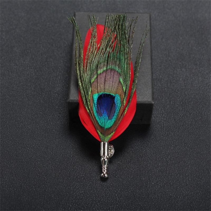Feather Lapel Pin in Red - SOPHGENT