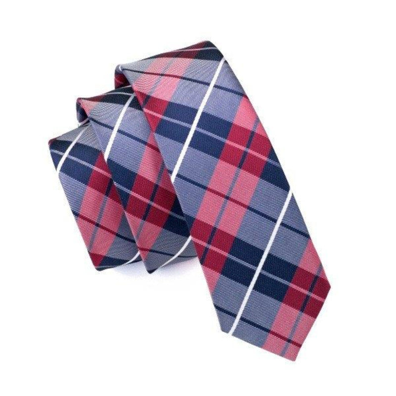 Blue and Red Plaid Slim Tie - SOPHGENT