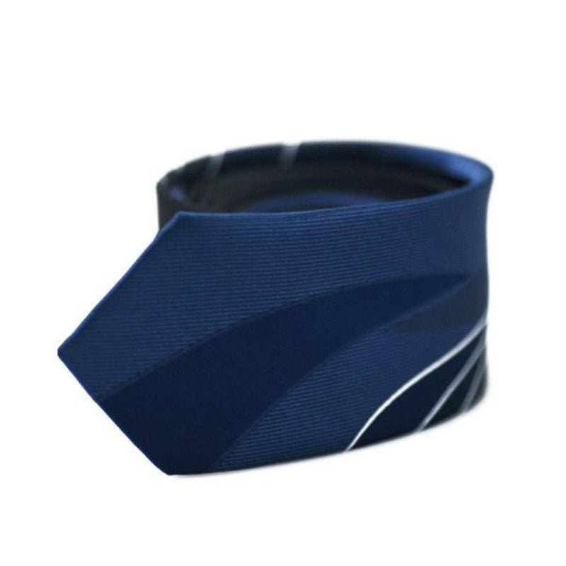 Blue With White Stripes Skinny Tie - SOPHGENT