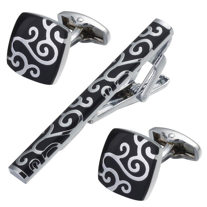 Black Inlaid Floral Tie Clip and Cufflinks - SOPHGENT