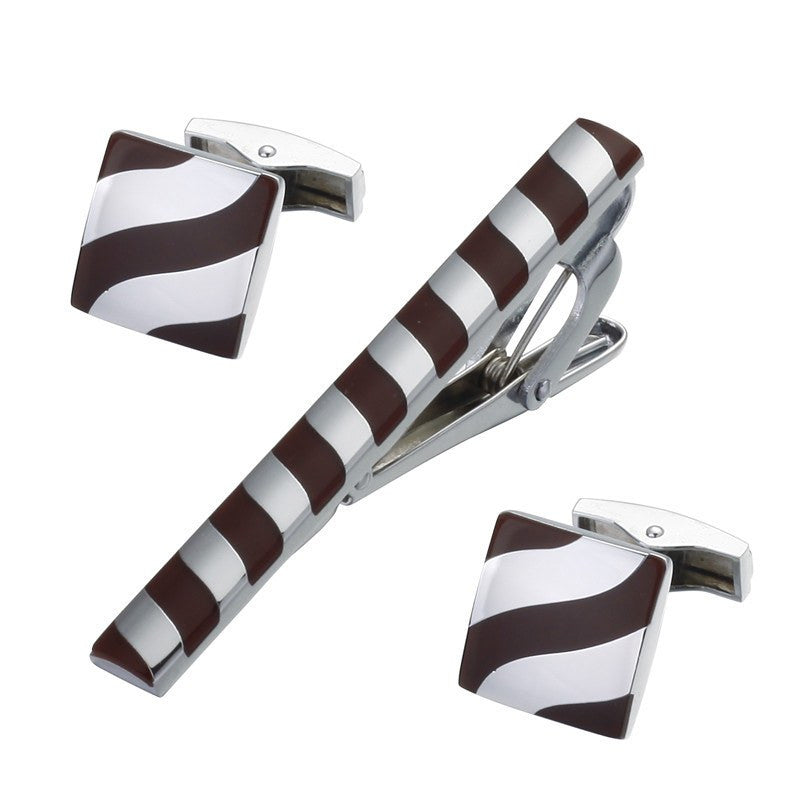 Brown Inlaid Tie Clip and Cufflinks - SOPHGENT