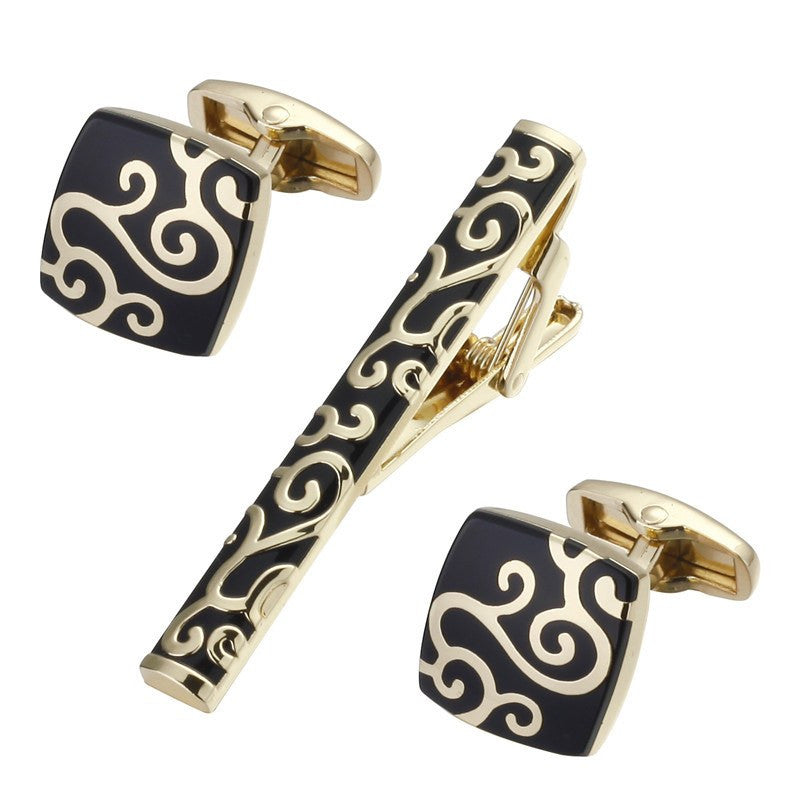 Gold Floral Tie Clip and Cufflinks - SOPHGENT