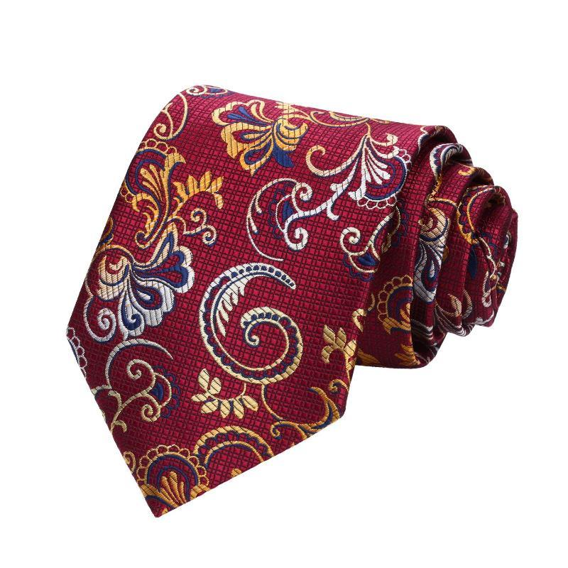 0cb84f65900d ... Burgundy and Yellow Floral Silk Tie and Pocket Square - SOPHGENT ...