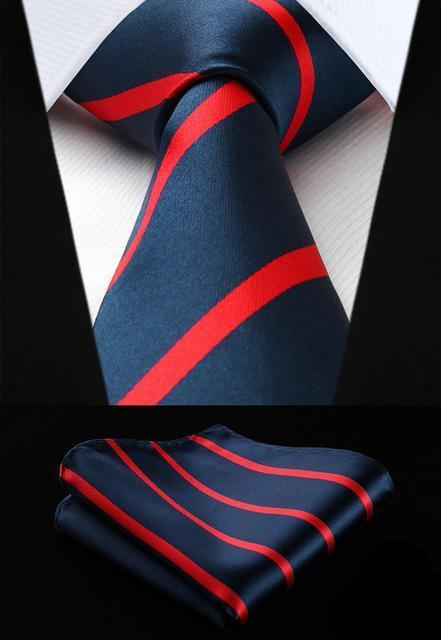 Red Lines Tie and Pocket Square - SOPHGENT