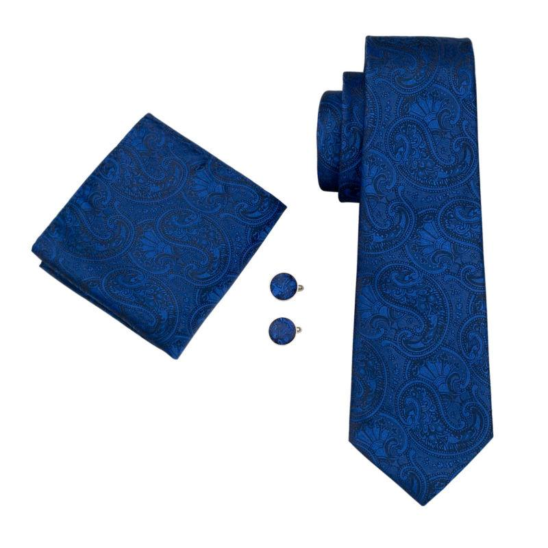 Royal Blue Paisley Tie, Pocket Square and Cufflinks - SOPHGENT