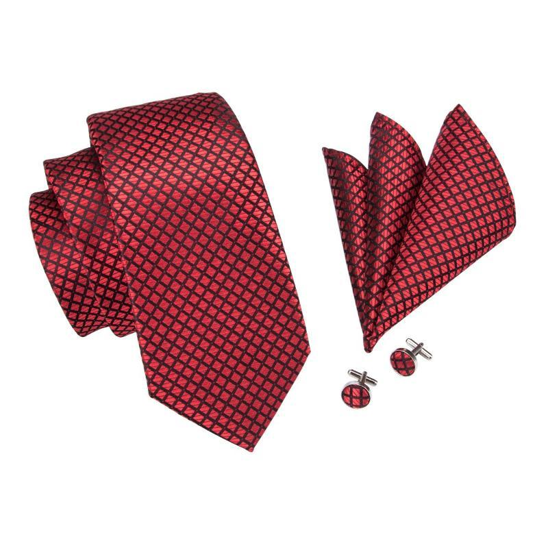 ad4040b99807 ... Squares in Red Tie, Pocket Square and Cufflinks Set - SOPHGENT