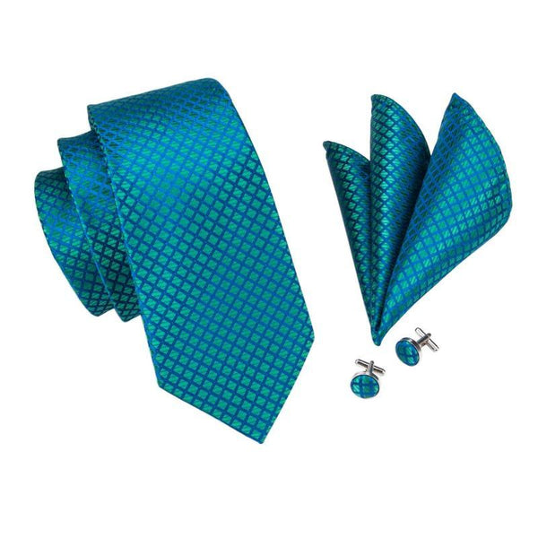 daf6fb10aab0 Squares in Turquoise Tie, Pocket Square and Cufflinks Set | Beautiful ties  at unbelievable prices.