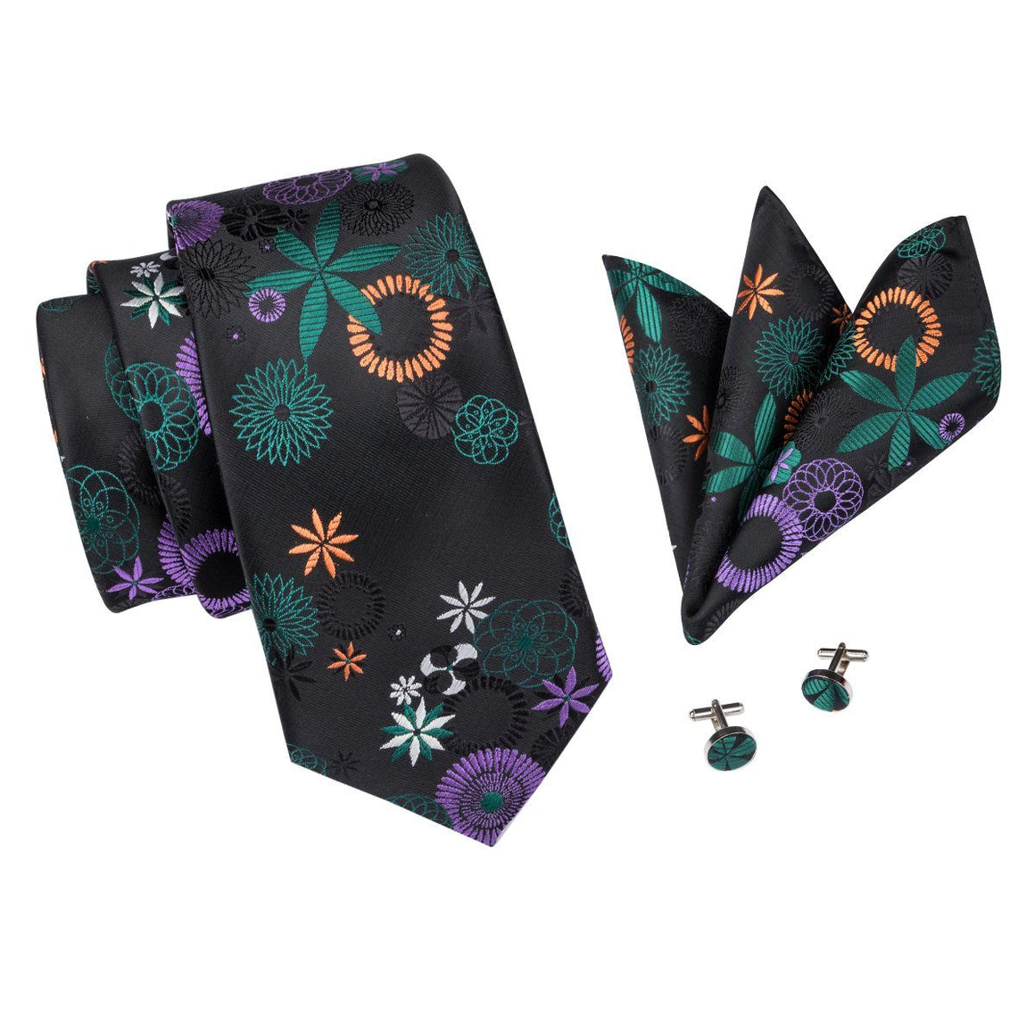 The Green Leaf Tie, Pocket Square and Cufflinks - SOPHGENT