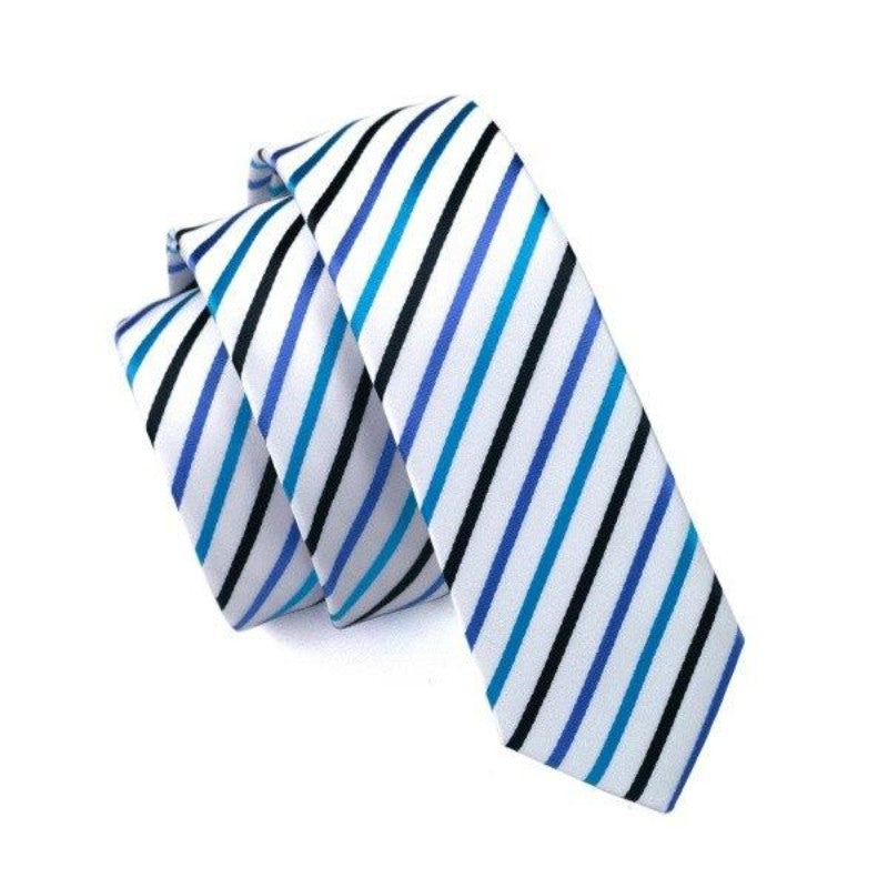 White and Blue and Black Striped Slim Tie - SOPHGENT