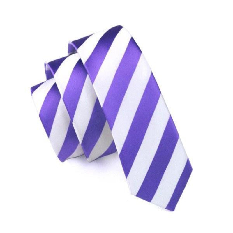 White and Purple Striped Slim Tie - SOPHGENT