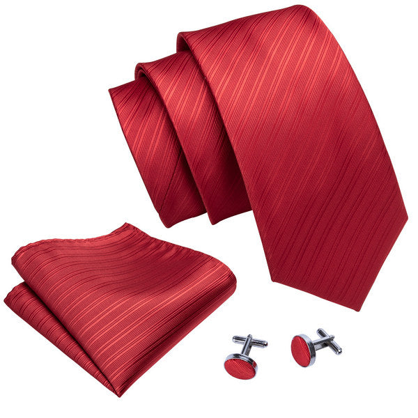 Red Lines Tie, Pocket Square and Cufflinks - SOPHGENT