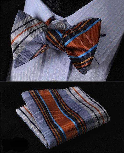 Orange, Silver and Blue Plaid Bow Tie and Pocket Square - SOPHGENT